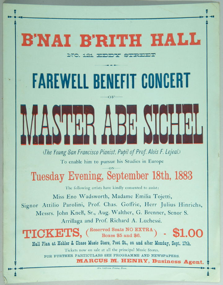 Frewell Benefit Concert program for Master Abe Sichel at B\'nai B ...