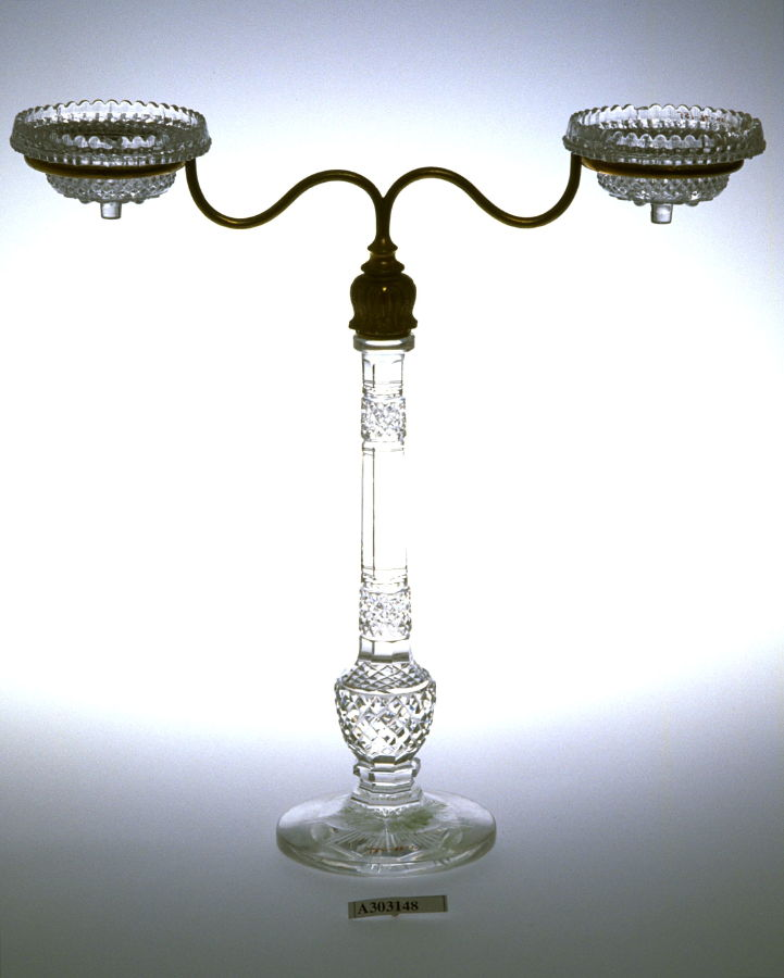 Two-branched candelabrum (wired for electricity) in four parts ...
