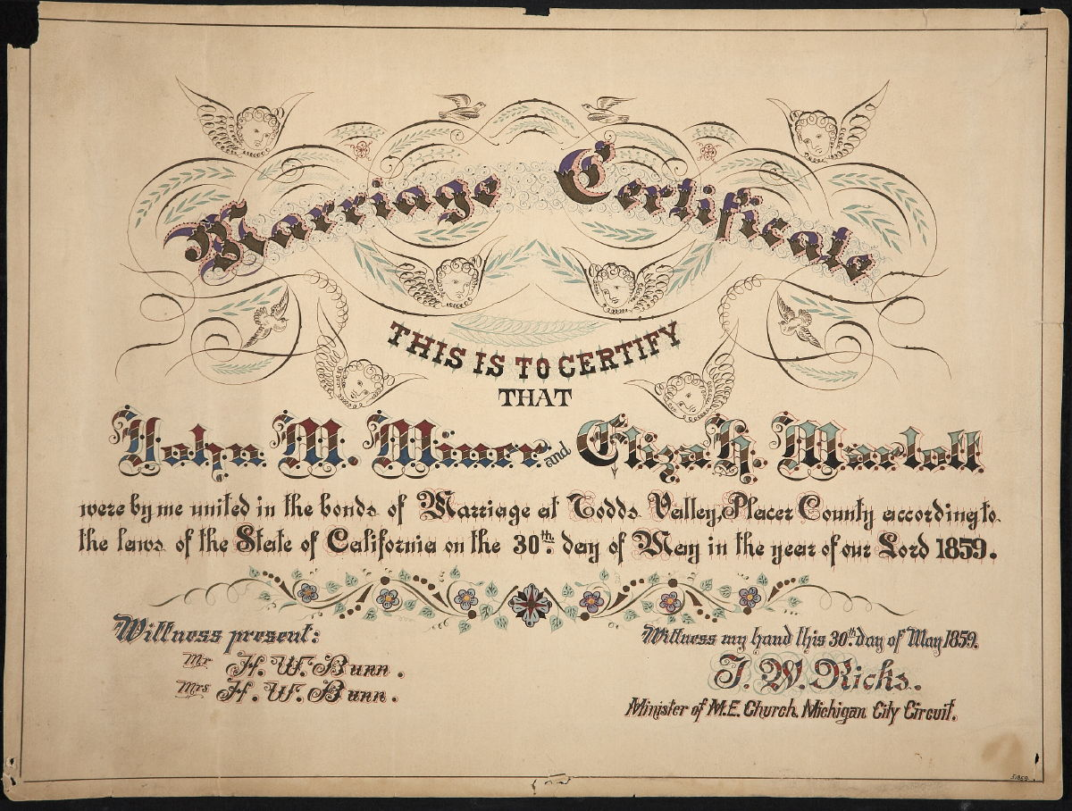 Marriage Certificate Of John M Miner And Eliza H Marlatt 5301859