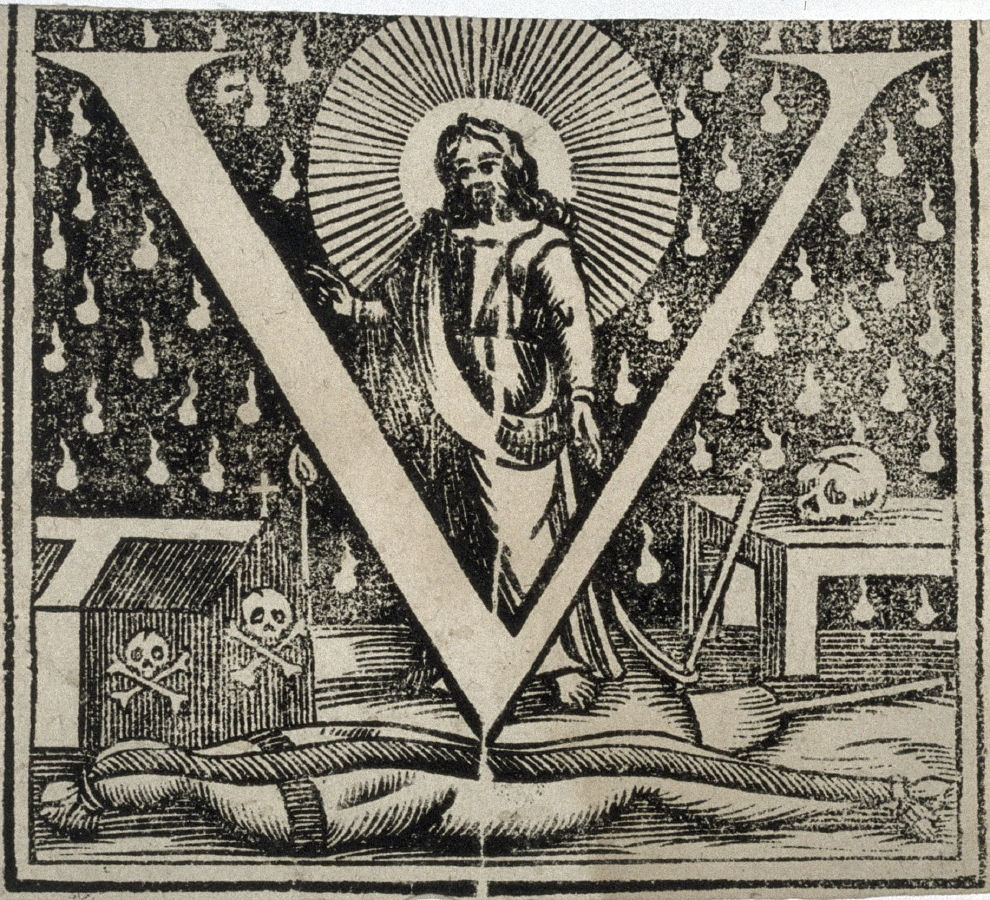 Jesus Various Symbols Of Death And The Capitol Letter V