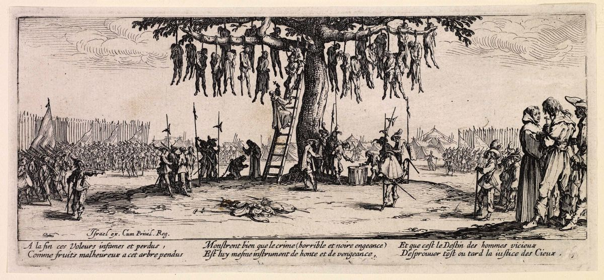the composition of hanging tree an etching by jacques callot Politics on paper: art with an agenda from the suart collection jacques callot french 1592-1635 the hanging tree from the series les grandes miseres de la.