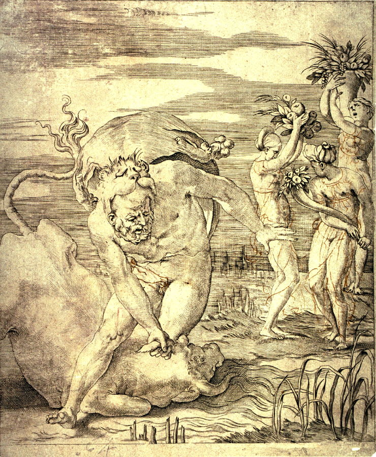 Hercules defeating the River God Achelous in the Form of a Bull  after    Achelous River God