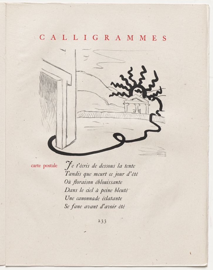 carte postale pg 233 in the book calligrammes by guillaume apollinaire paris librairie. Black Bedroom Furniture Sets. Home Design Ideas