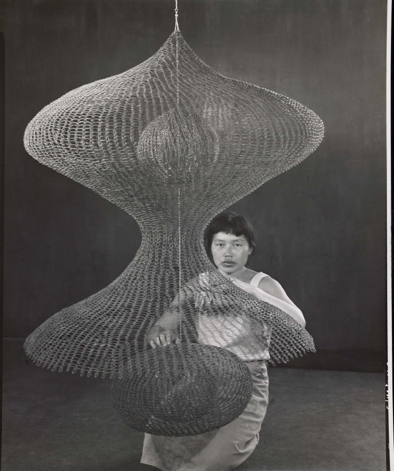 Untitled (Ruth Asawa kneeling behind looped-wire sculpture) - Imogen ...