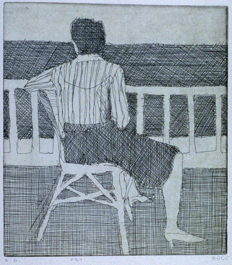 37 Crosshatched Drawing Of Woman In Chair Turning Her Back The Book 41 Etchings Drypoints By Richard Diebenkorn Berkeley Crown Point Press