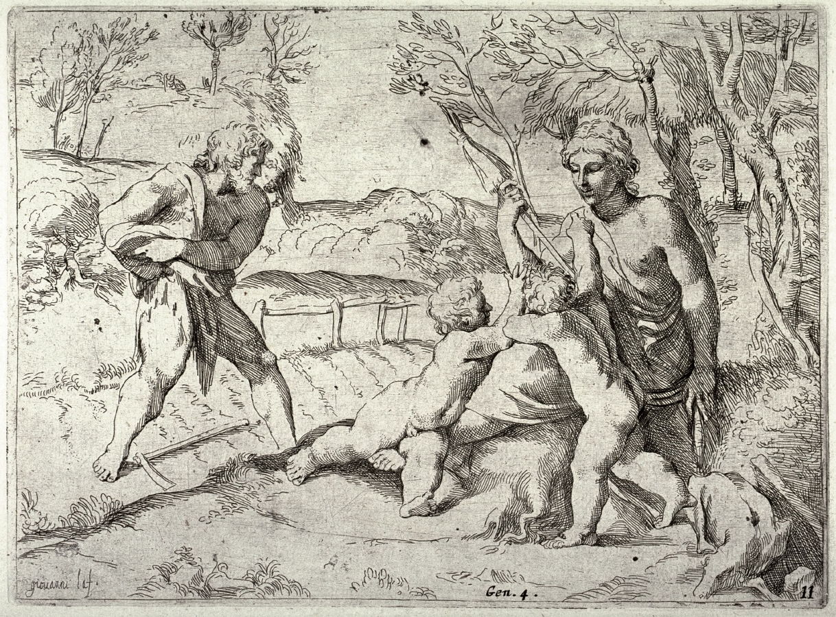 adam and eve with cain and abel from the series of etchings