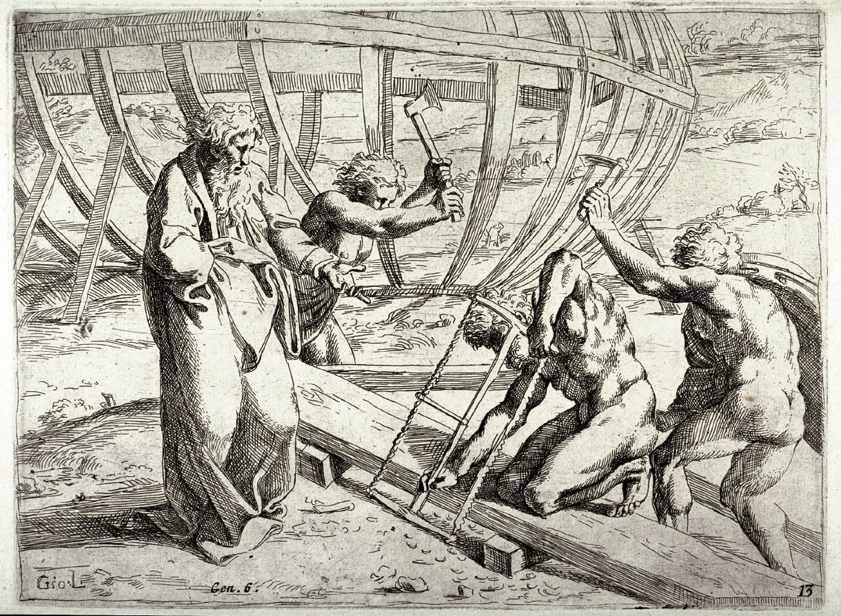 noah building the ark from the series of etchings biblical scenes