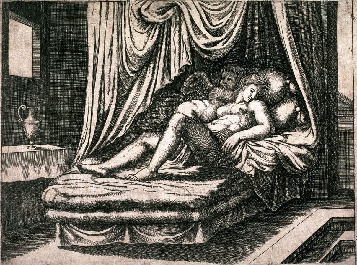 cupid and psyche together in the nuptial bed after michael coxie or