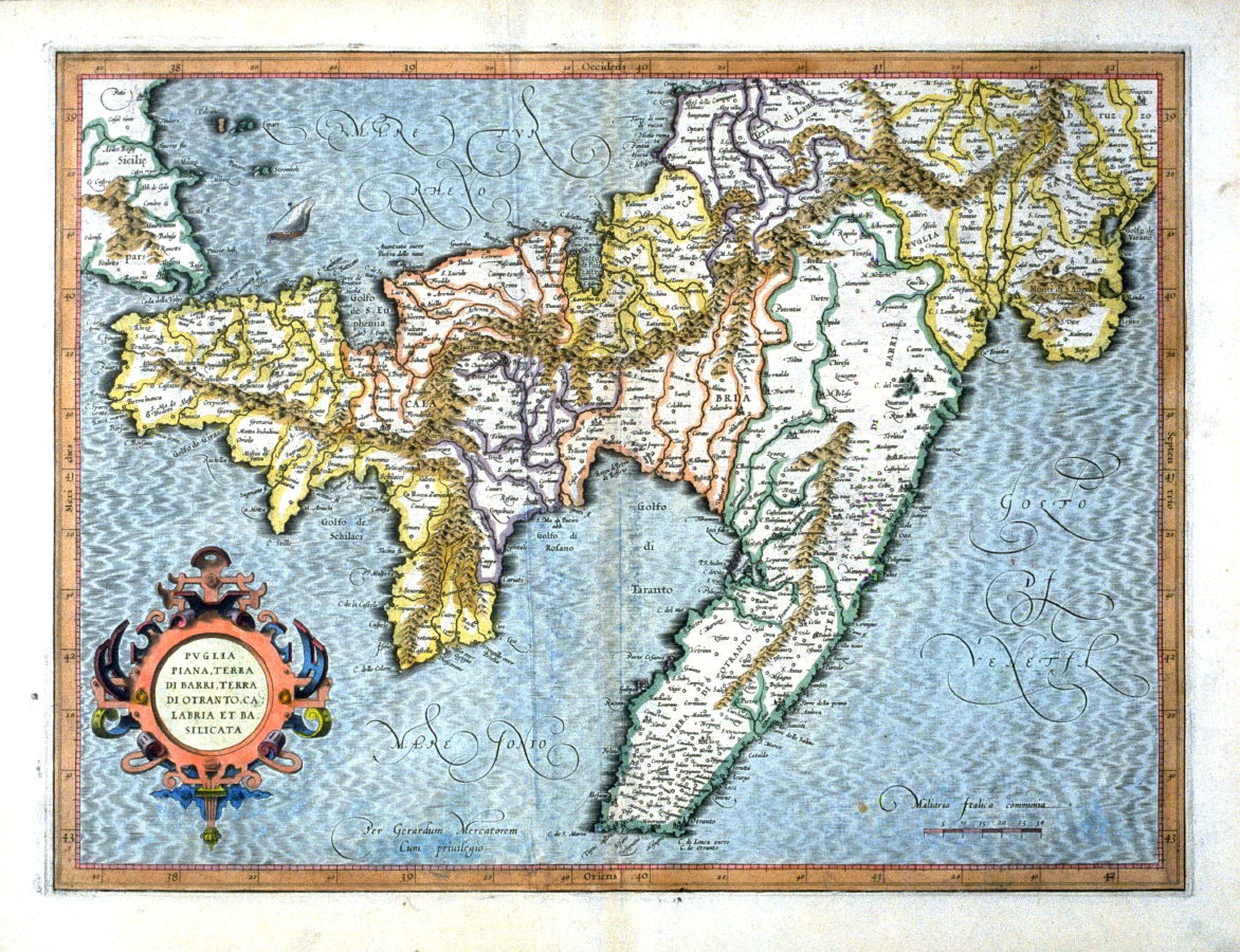 Otranto Italy Map.Map Of Apulia Di Barri Di Otranto And Calabria Lower Italy