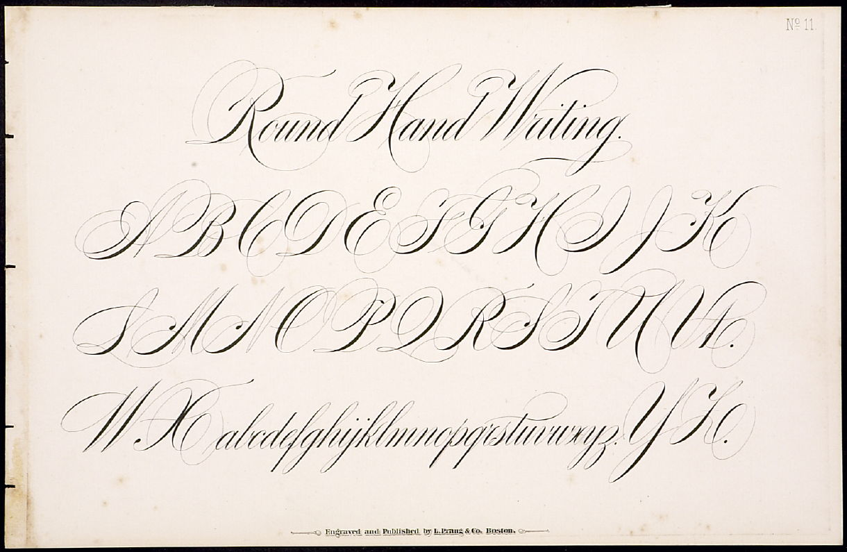 Round hand writing no 11 l prang company l prang Roundhand calligraphy