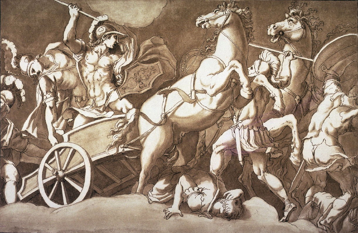 battle scene with a a roman soldier in a chariot after giulio