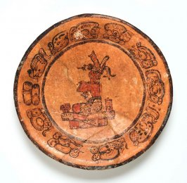 Plate with Seated Ruler on Throne with Offerings of Food and Chocolate