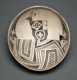 Bowl (Deer in Geometric Landscape)