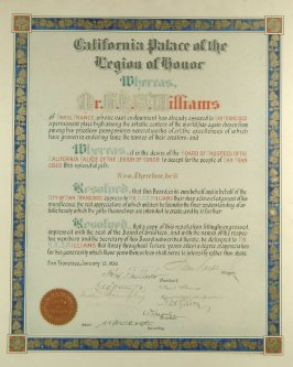 """Hand lettered certificate dated January 13, 1930 - """"Mr. H.K.S. Williams"""" Donor No.: 5020 Henry K.S. Williams"""
