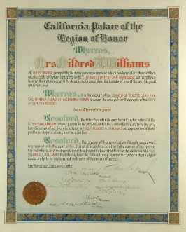 "Hand lettered certificate dated January 13, 1930 - ""Mrs. Mildred Anna Williams""