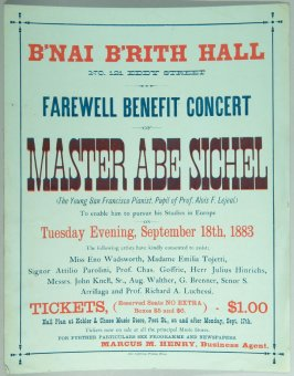 Frewell Benefit Concert program for Master Abe Sichel at B'nai B'rith Hall on September 18, 1883