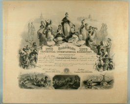 Certificate of the Centennial International Exhibition granting one share of the capital stock of Centennial Board of Finance to J.R. White