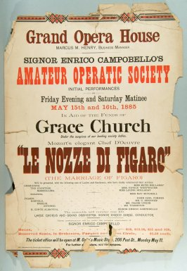 Two posters for Grand Opera House; Eignor enrico Campobello's Amateur Operatic Society; Le Nozze di Figaro