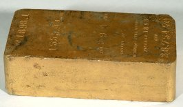 Facsimile of gold brick, representing $28,754 - output of Morning Star Mine for January, 1898