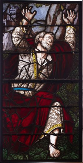 Stained glass window: Prophet in Damascene robe