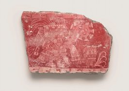 Mural fragment (tassel headdress figure and talon glyph)