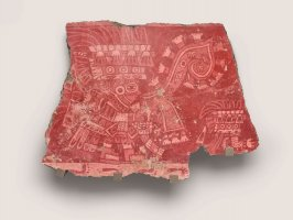 Mural fragment (tassel headdress figure and bent arm with eyes glyph)