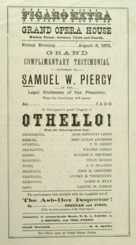 Program - Othello at Grand Opera House, 1879