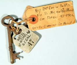 St. Nicholas Hotel key and check, used on 04/18/1906