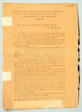 Pamphlet: Active Propaganda of the Anti-Imperialist League of Boston in favor o f the Independence of the Filipinos, in Spanish