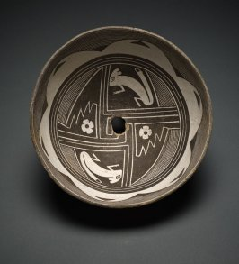 Bowl (Rabbits with Floral and Geometric Motifs)