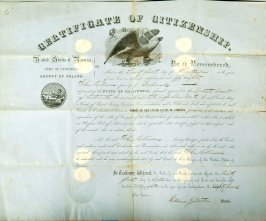 Certificate of citizenship for John Robinson