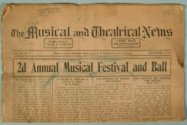 "One of ten copies of ""The Musical and Theatrical News"" (R841.1-10)"
