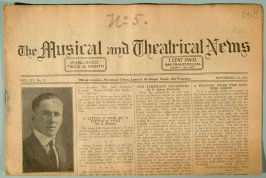"""One of ten copies of """"The Musical and Theatrical News"""" (R841.1-10)"""