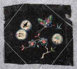 Embroidered square stork, parrot, swallow, butterfly and plum blossoms
