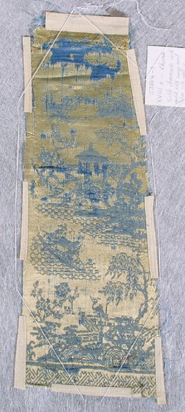 Partial sleeve band pagoda, boat, trees and stork