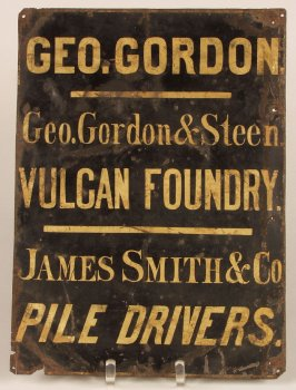 Business sign - George Gordon and Steen, Vulcan Foundry, James Smith and Company, Pile Drivers