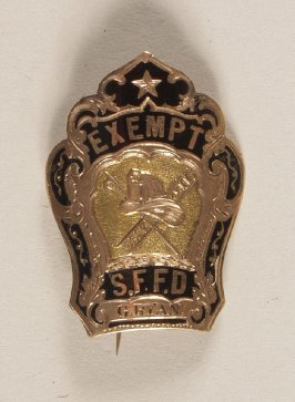 "Badge: ""Exempt S.F.F.D. - G. Ryan"", of Manhattan Engine Co. #2 black on gold"