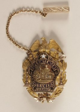 "Medal awarded to S. Rainey by S.F. Fire Department ""Superintendent of Steamers"""