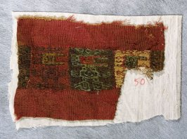Fragmentary border of a breechcloth border or of the ends of a sash