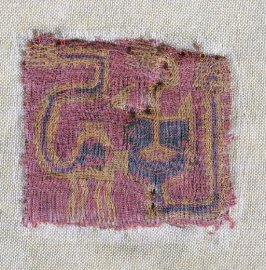 Fragment : red rectangle with animal in black and yellow