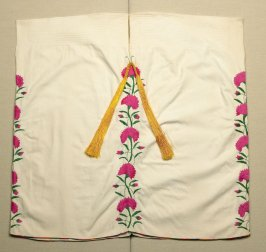 Blouse (huipil) pink flowers, green vines, and orange tassels