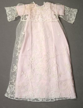 Christening dress (lace overdress and pink silk underdress)