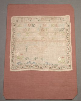 "Sampler: ""Nancy N. Mayhew Born 1809"""