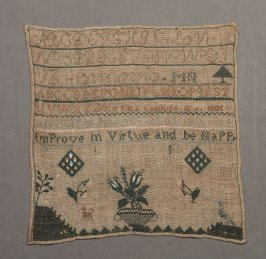 """Sampler: green and yellow on beige, inscribed, """"improve in virtue..."""""""