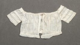 Baby's jacket :white embroidered linen with ruffled sleeves