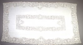 Tablecloth with cutwork and filet lace