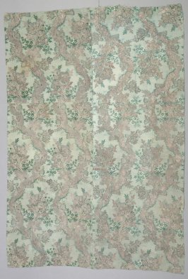 """Brocade silver and dark green floral design on light green; marked: """"Huntington #4"""""""