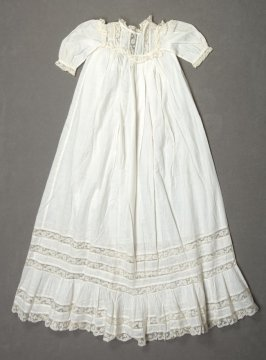 baby's christening dress: , lace on trim, yoke and sleeves.
