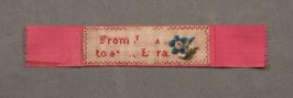 Bookmark pink with blue flower