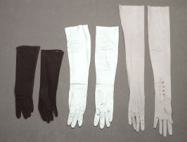 3 pairs of gloves: , one pair ice blue, one grey, one brown.